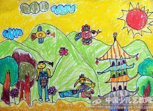 中班幼儿绘画春游场景