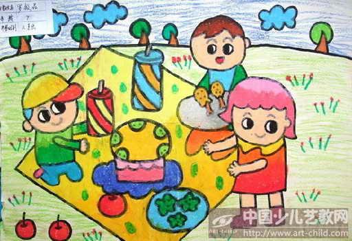 全家人野餐简笔画