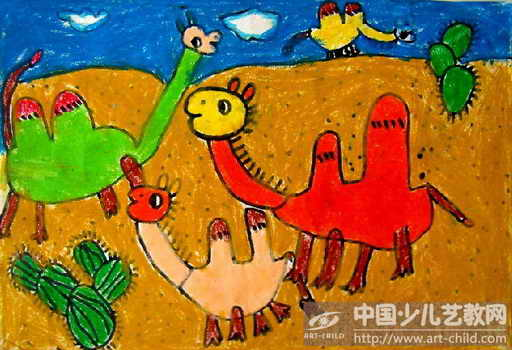 作品名称:  《沙漠中的骆驼》