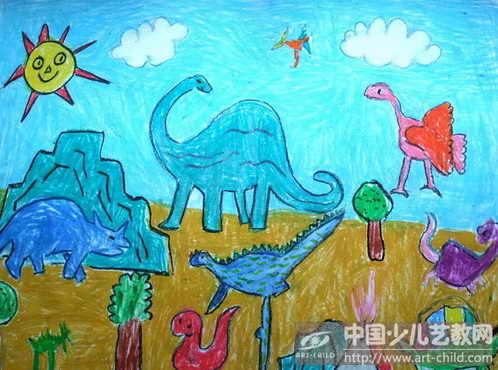 恐龙世界儿童画图片