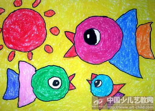 幼儿蜡笔画太阳图片