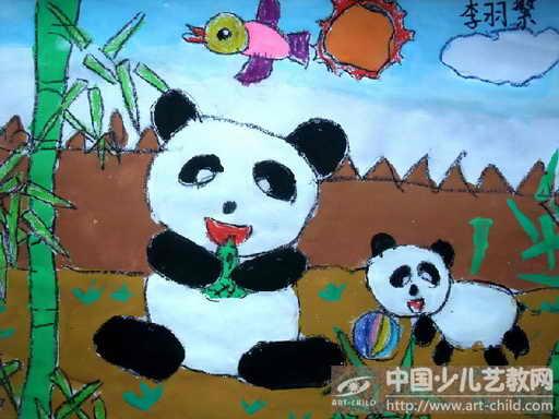 熊猫简单卡通画