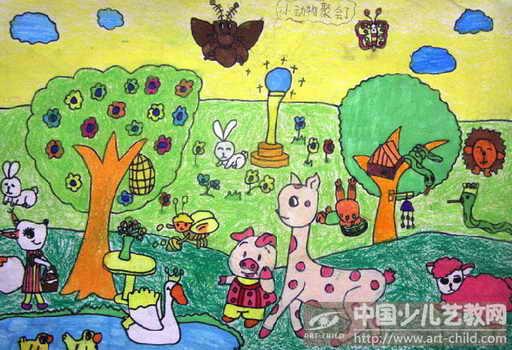 幼儿森林动物主题画