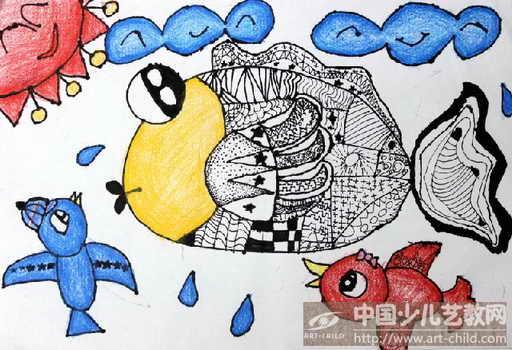 鱼儿童创意画
