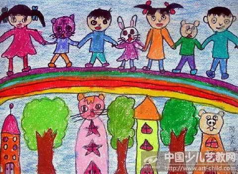 作品名称:  《彩虹桥上手拉手》