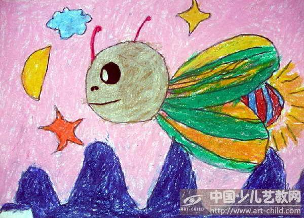 萤火虫儿童画图片_萤火虫儿童画