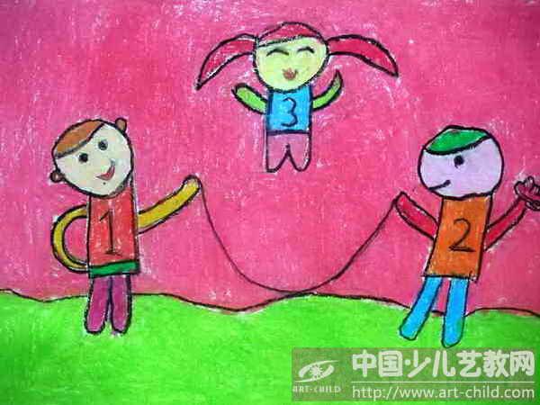 画画儿童女生在跳绳
