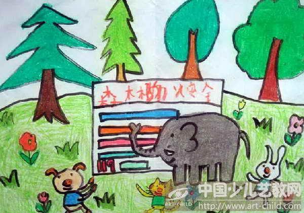 儿童画森林防火_绘画分享