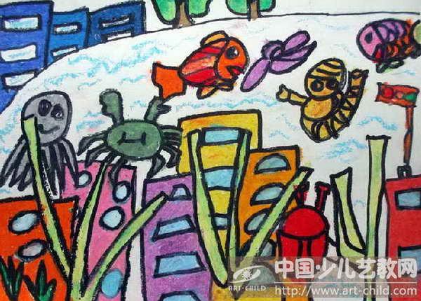 关于海底的图画 海底城市科幻画 海底幼儿图画大全