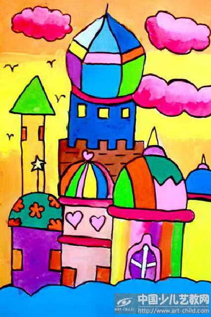 灰姑娘城堡儿童画::教师优秀儿童画城堡::儿童画漂亮