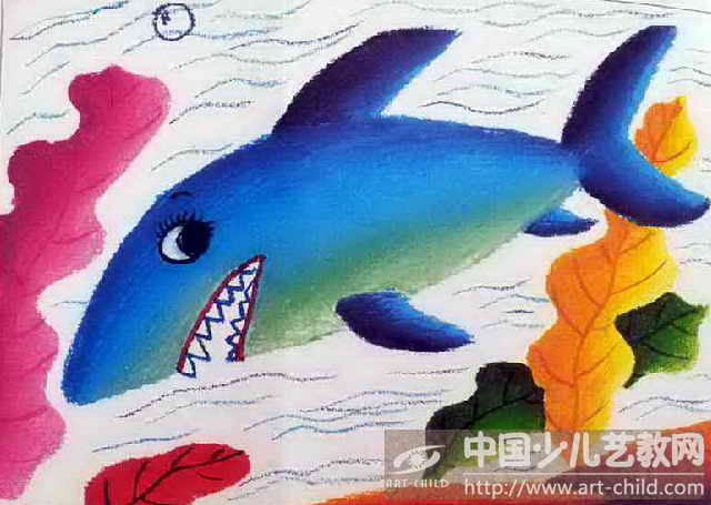 儿童画大鲨鱼图片