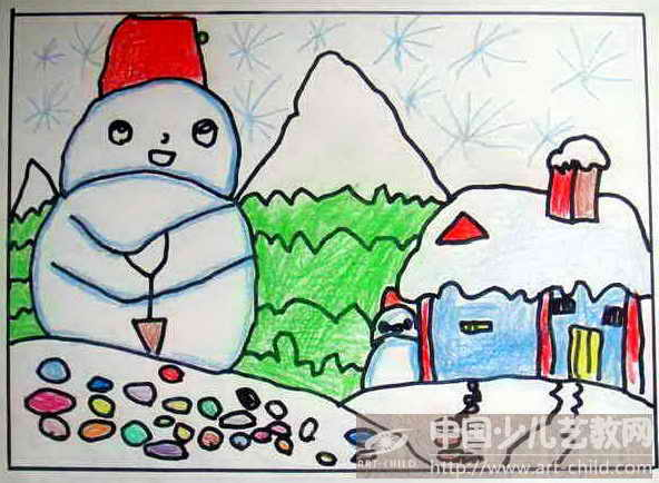 下雪怎么画儿童简单