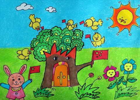我爱祖国金奖儿童画