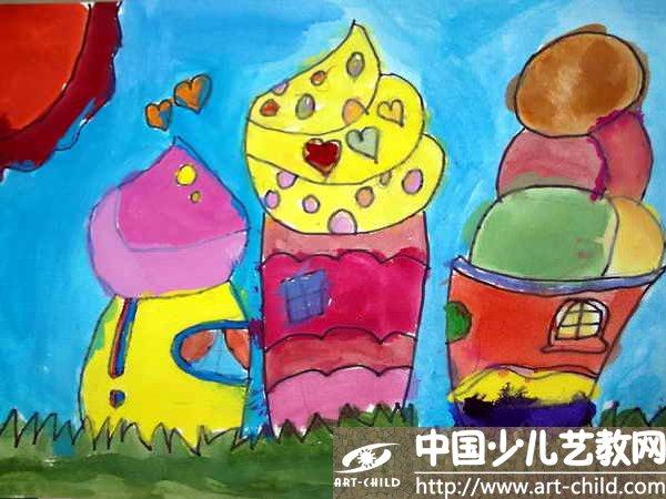 作品名称 冰淇淋房子 儿童画冰淇淋房子 少儿画苑 第1