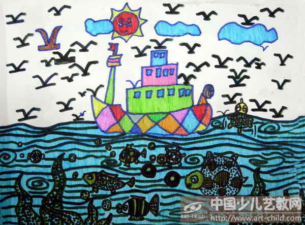幼儿园大海简单画画