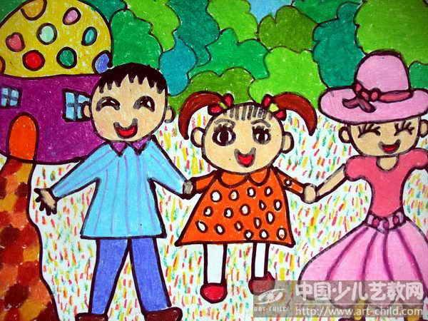 [图文]庆元旦儿童画:新年是 幸福 的   儿童画画大全蜡笔画-长颈鹿 一