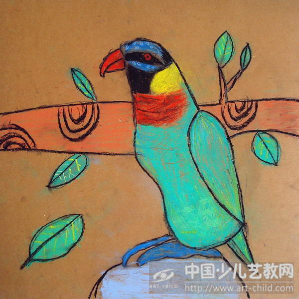 儿童画鹦鹉步骤