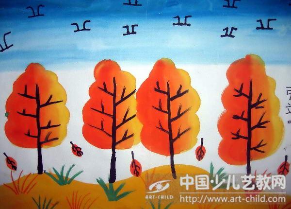 秋天的简笔图画_风景520