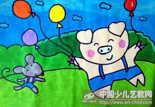 大班美术幼儿作品小猪分享展示