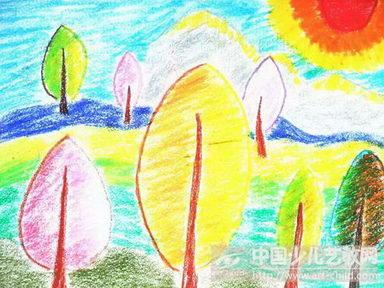 幼儿园中班落日绘画