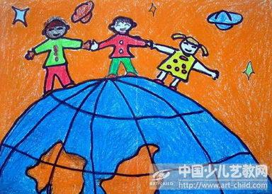 幼儿园里小朋友玩耍的油彩画