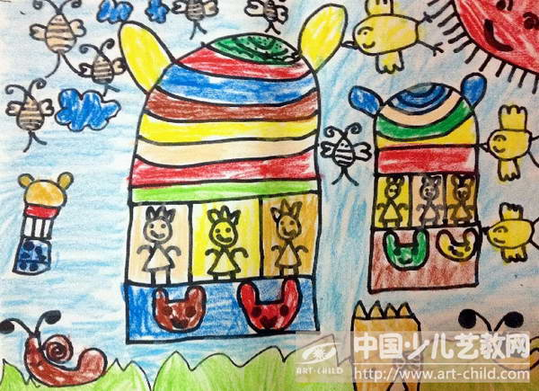 2年级美术热气球绘画作品分享展示图片