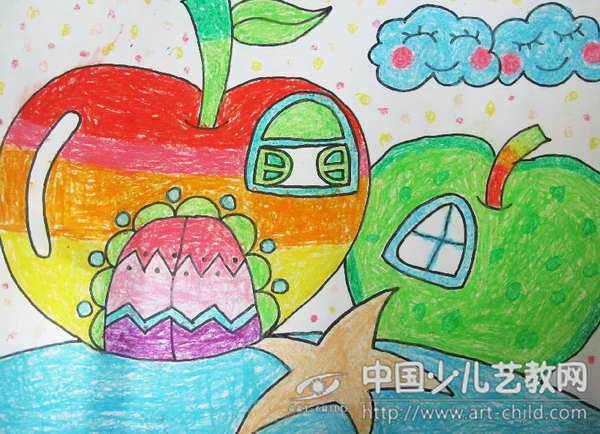 儿童画水果房子图片展示_儿童画水果房子相关图片图片