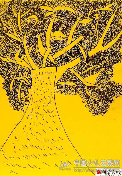 美术ppt大树背景