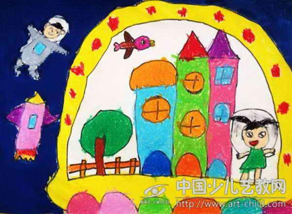 幼儿园中班美术奇妙的太空图片