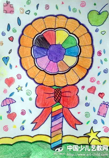 画画画的七彩棒棒糖分享展示图片