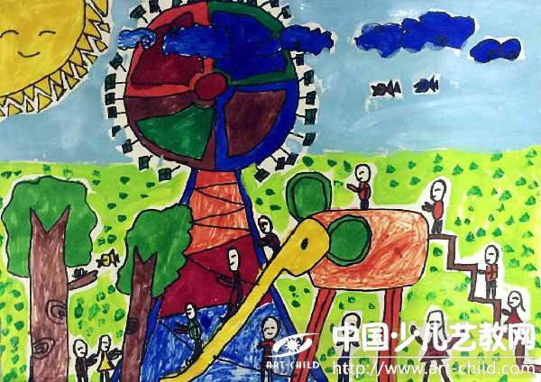 阳光下成长绘画作品成长值分享展示图片