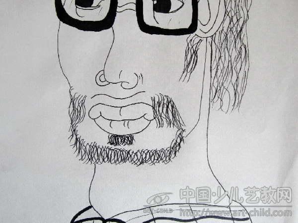 戴眼镜老师长头发简笔画分享展示图片