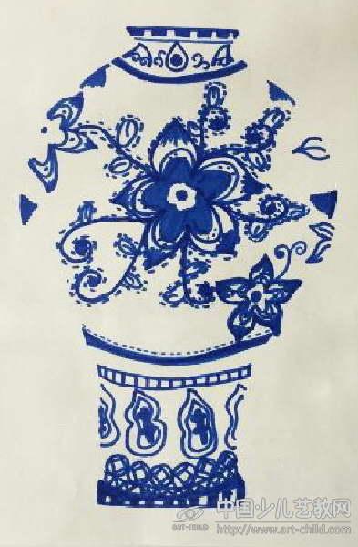 青花瓷儿童画线描分享展示图片