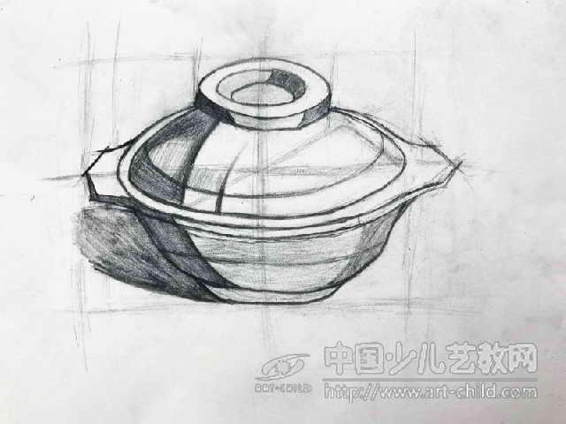 素描砂锅画的步骤